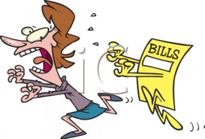 0511-1009-1318-2326_Cartoon_of_a_Woman_Being_Chased_by_Her_Bills_clipart_image
